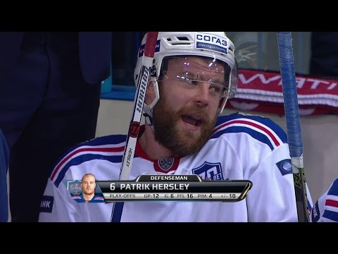 Patrik Hersley's slap shot goes through net