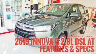 2019 Toyota INNOVA G 2.8L Dsl AT | Alumina Jade | Features & Specs (Philippines)