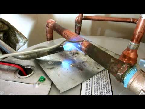 installing a 40 gallon electric waterheater  soldering copper pipe