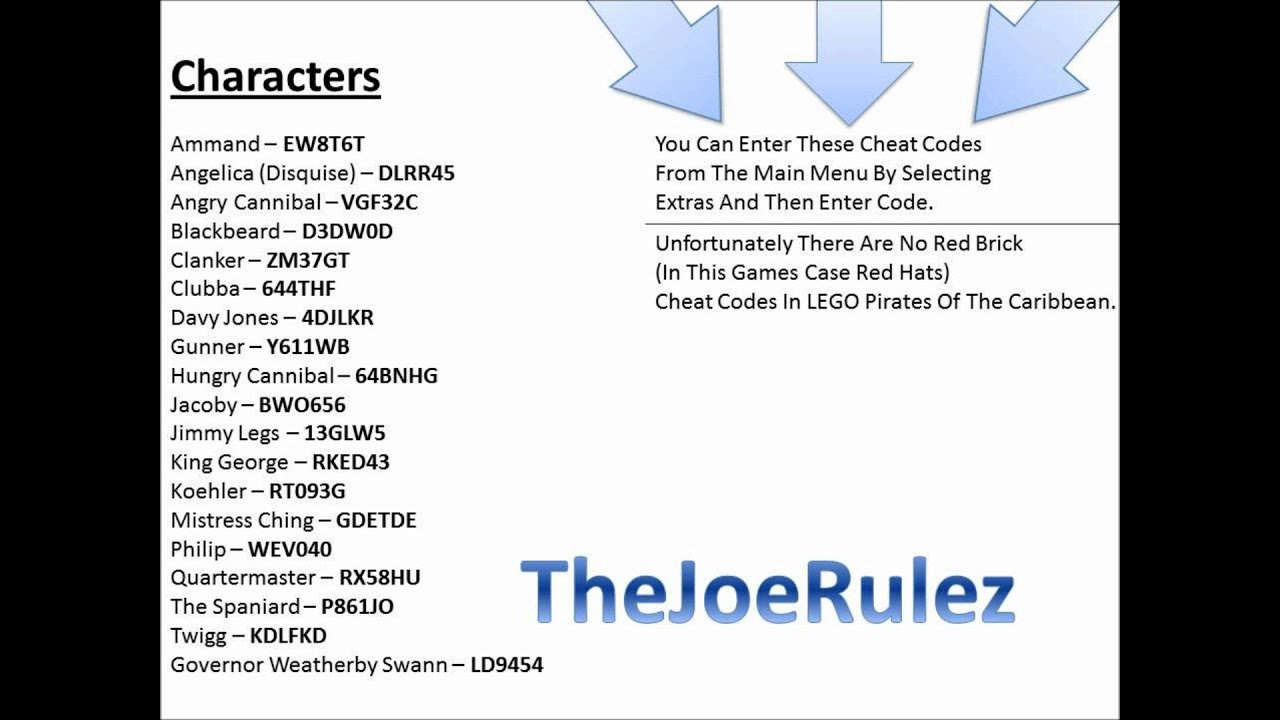 LEGO Pirates of the Caribbean Cheats & Codes for Xbox 360 ...