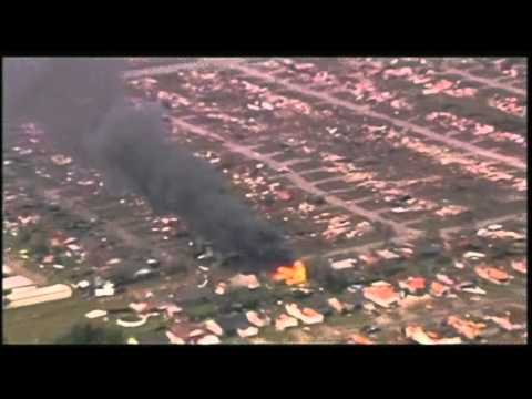 Raw: House Burns After Massive Oklahoma Tornado