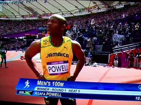 Asafa Powell 100m trials London 2012 Olympics