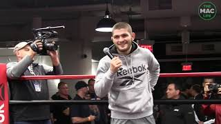 UFC 220 - Khabib Nurmagomedov arrives at the open workouts