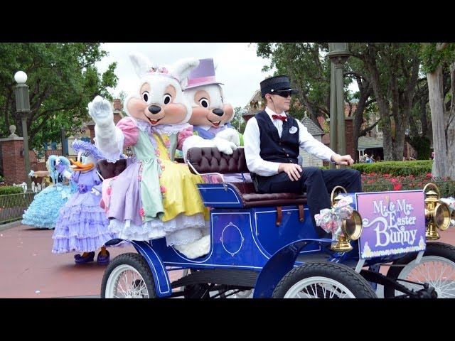 Happy Easter Pre-Parade 2014 at The Magic Kingdom with Mr & Mrs Easter Bunny, Azalea Trail Maids