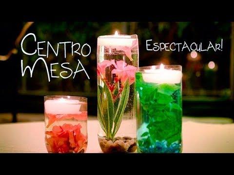 Centro De Mesa Jarr 243 N Con Flores Sumergidas Y Velas