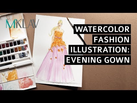 Fashion Illustration with Watercolor : Evening Gown Style