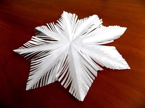 как сделать простую снежинку из бумаги поэтапно