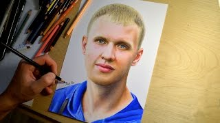 Colored pencil drawing of Alexander (Time-lapse drawing video)