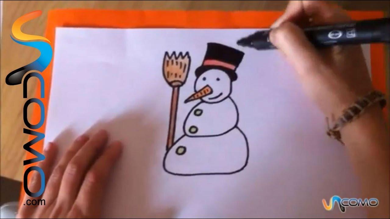 Dibujar un mu eco de nieve para ni os youtube - Munecos de nieve para dibujar ...