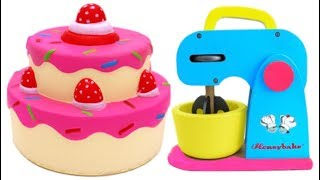 Squishy Strawberry Cake Learn Colors Play Doh and Microwave Playset for Children