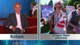 Ellen Show Today : Who's Win $10,000 ? Twitter Challenge at OSU | FULL INTERVIEW HD