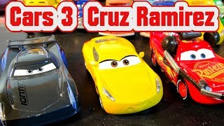 Cars 3 Spoilers Cruz Ramirez with Jackson Storm and Lightning McQueen with Doc Sally and Lizzie