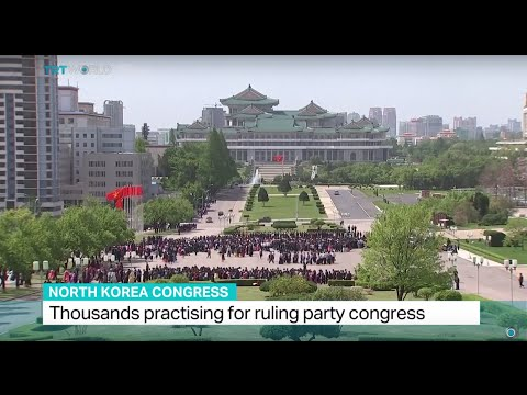 Thousands practising for ruling party congress in North Korea
