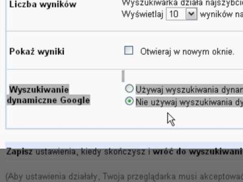 Jak wyłaczyć dynamiczne wyszukiwanie w Google.?