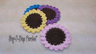 Learn How To #Crochet Easy Wildflowers Coaster Set TUTORIAL #394