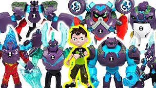 Ben 10 Omni-Enhanced Shock Rock, Overflow, Diamondhead transform! Defeat dinosaurs! #DuDuPopTOY