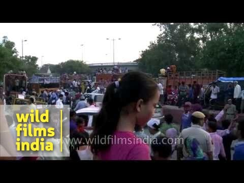 Devotees gather at Yamuna river for Ganesh immersion