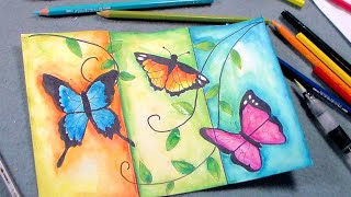 Butterfly Painting Tutorial with Pen & Ink and Caran D'Ache Watercolor Pencil Review