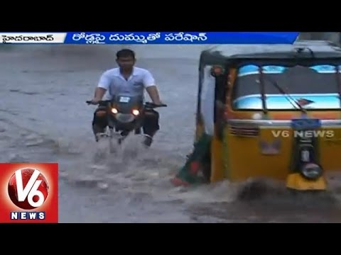 People facing problems with damaged roads due to unseasonal rains - Hyderabad(16-05-2015)