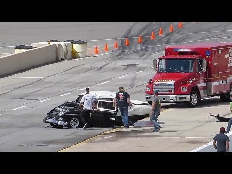 INSANE 55 Chevy Crash – Driver Walks AWAY!