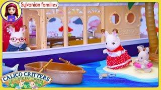 Sylvanian Families Calico Critters Seaside Cruiser House Boat Grandparent Rabbit Family Kids Toys