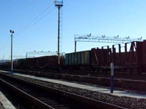 Massive and Endless Freight train and Locomotive at Russia - Mongolia border