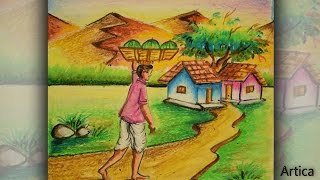 How to Draw a Village Landscape with Oil Pastel | Oil Pastel Painting