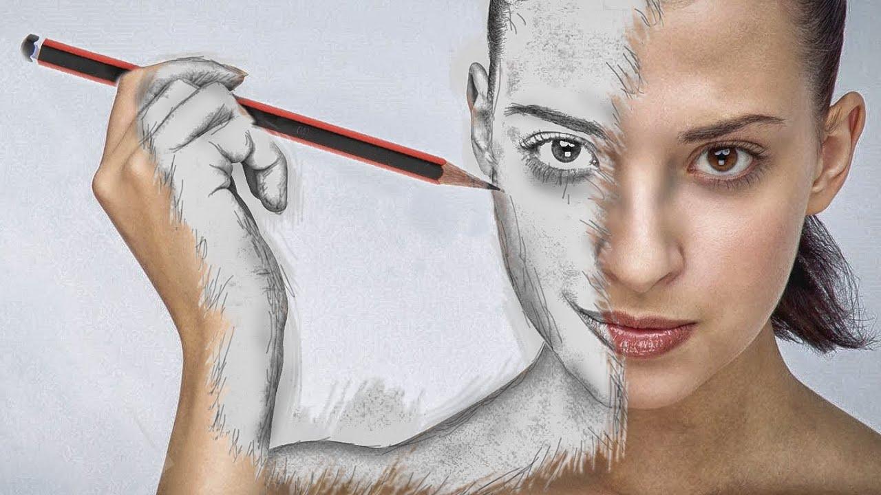 Как сделать рисунок простым карандашом из фото в фотошоп