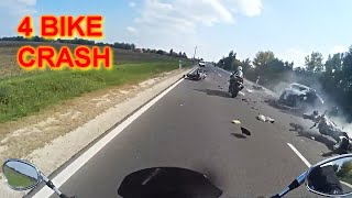 - Massive 4 Bike CRASH -