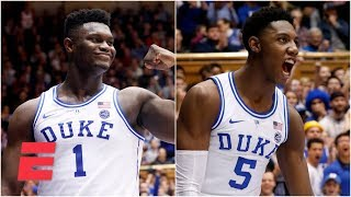 RJ Barrett, Zion Williamson combine for 55 in Duke's blowout win | College Basketball Highlights