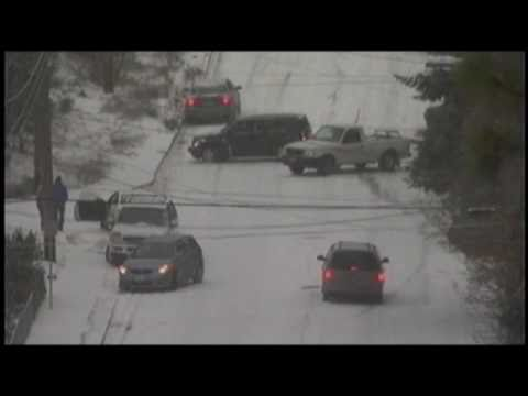 Spokane Washington 8 car pile-up on Freya st. and 13th ave. 12/19/10