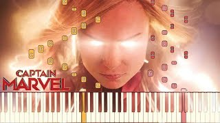 Captain Marvel - Official Trailer Music | Piano Tutorial (Synthesia)