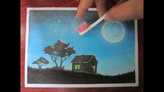 Bàn chải đánh răng cũ vứt đi dùng vẽ tranh phong cảnh đêm trăng