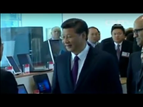 Xi visits Microsoft, meets Internet giants