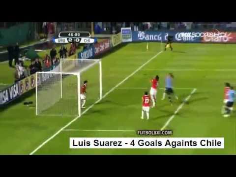 Liverpool FC -  Luis Suarez - 4 Goals - Uruguay V Chile 4-0