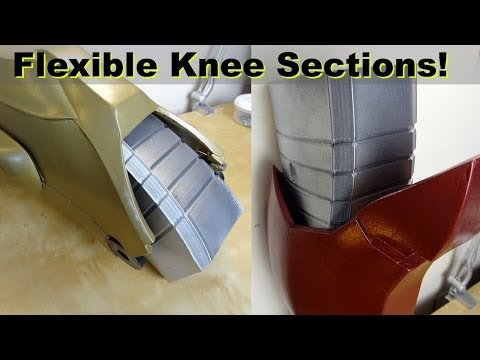XRobots - 3D Printed Iron Man Cosplay Flexible Knee Sections. Printed in Ninjaflex Rubber