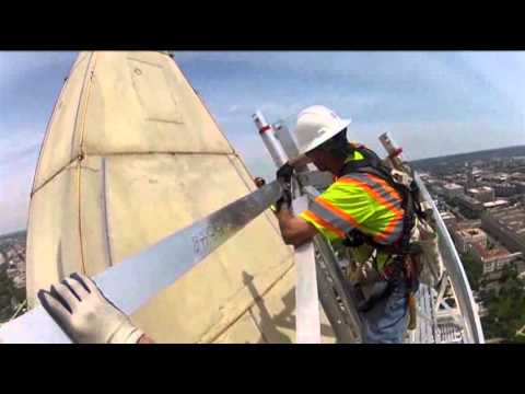 Raw: View Atop Washington Monument Scaffolding