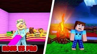 Minecraft NOOB VS PRO : SLEEPOVER PARTY in Minecraft!