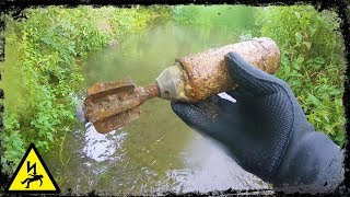 Mortar Bomb Found  in River While Metal Detecting