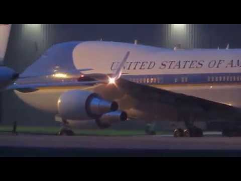 Air Force One and President Obama leaving RAF Fairford with ATC Sep 2014 by JSLees