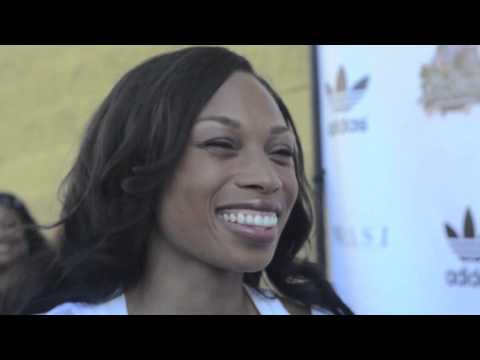 Allyson Felix at the She Cares Celebrity Basketball Game