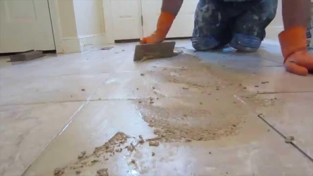 Applying grout to ceramic tile
