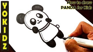 How to draw PANDA for kids