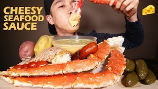 CHEESY SAUCE 🧀 ALASKAN KING CRAB SEAFOOD 🦀 + LOBSTER TAIL • mukbang • LESS TALKING + MESSY EATING