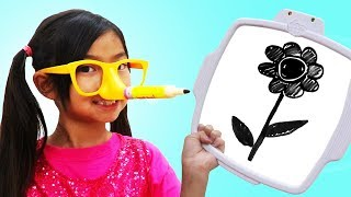 Emma Pretend Play Pencil Nose Challenge | Funny Art Game for Kids