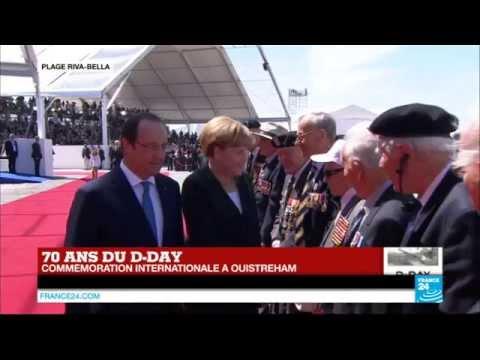 70 ans du D-Day : l'arrivée de la chancelière allemande Angela Merkel