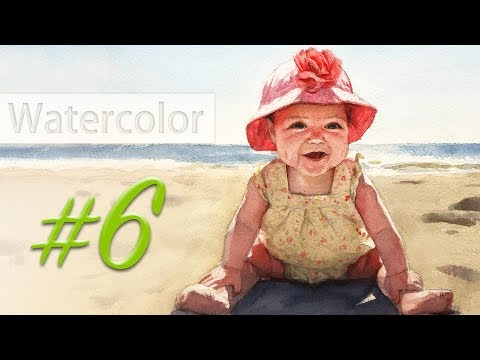 Portrait of a baby girl - watercolor painting step by step #6: making it 3D