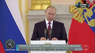Rússia diz que derrubará mísseis dos EUA disparados contra a Síria | SBT Brasil (11/04/18)