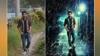 Photoshop Tutorial : Rain Effect - Changing Background -  Photo Manipulation