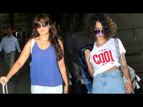 HOT Richa Chaddha & Kangana Ranaut At Mumbai Airport